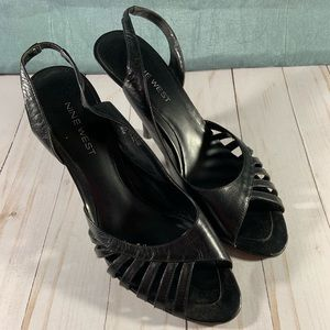 Nine West Black Leather Slingback Heel 8M